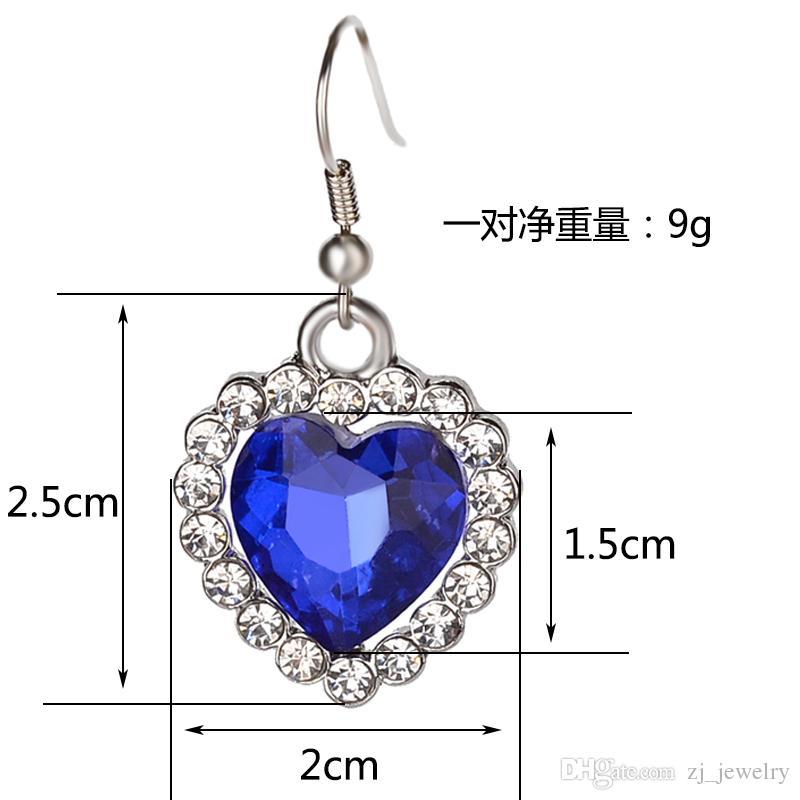 Romantic Small Size Heart Of The Ocean Necklace Pendants & Earrings Women Blue Crystal Rhinestone Jewelry Sets Choker Earrings & Necklace 6