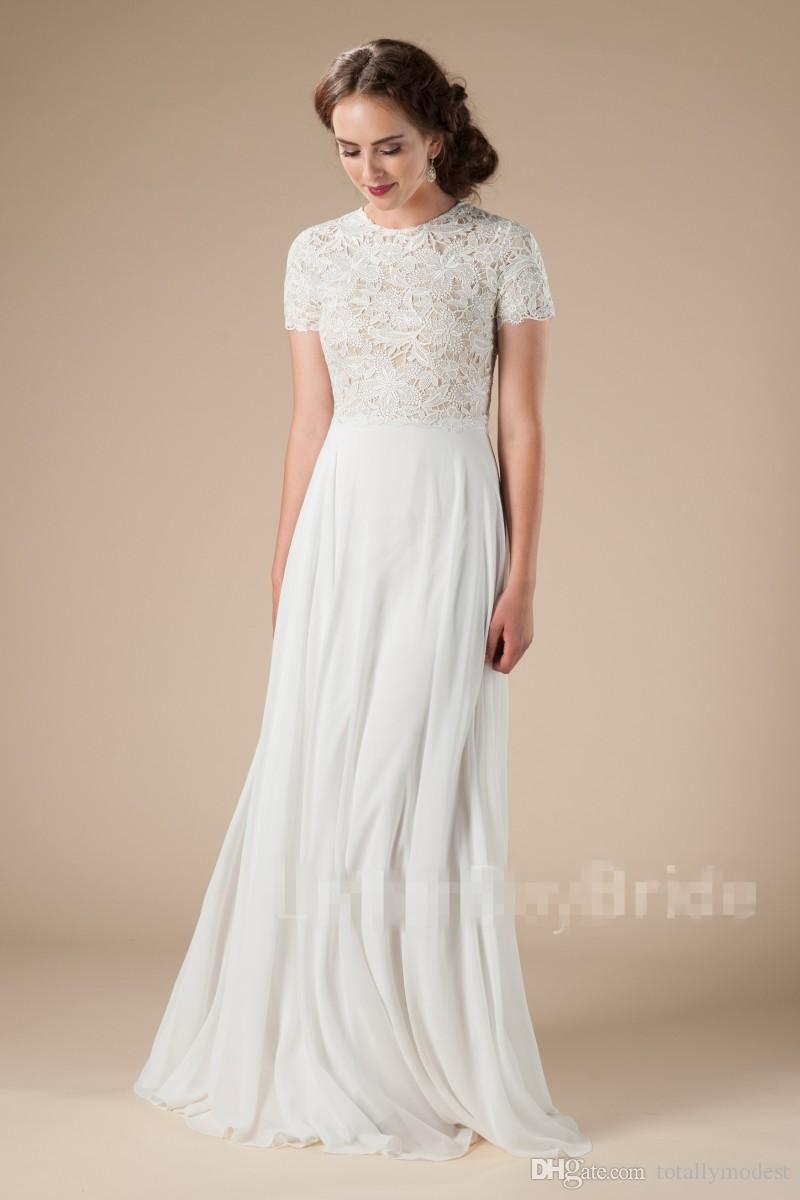 Discount New Lace Chiffon Beach Modest Wedding Dresses With Short Sleeves Boho Bridal Gowns A Line Floor Length Outdoor Informal Lds Wed Gowns A Line Wedding Dress Aline Dress From Totallymodest 63 18