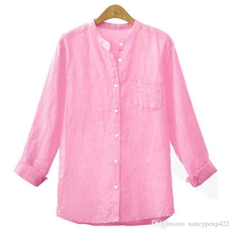 Online Cheap Long Sleeve Linen Shirts For Women Plus Size Clothing ...