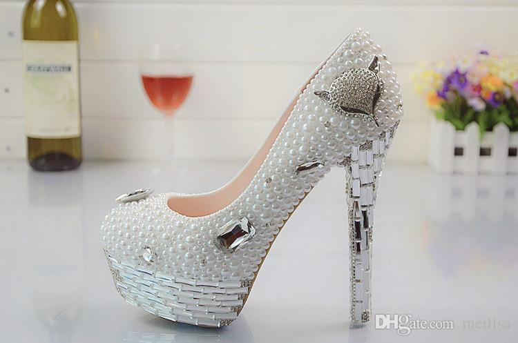Us Size 12 White Pearl Fox Head Wedding Shoes Party Shoes Bridal Shoes  Round Toes Platform Shoes Rhinestone Shoes Msful Bridal Shoes Cute Bridal  Shoes From ...