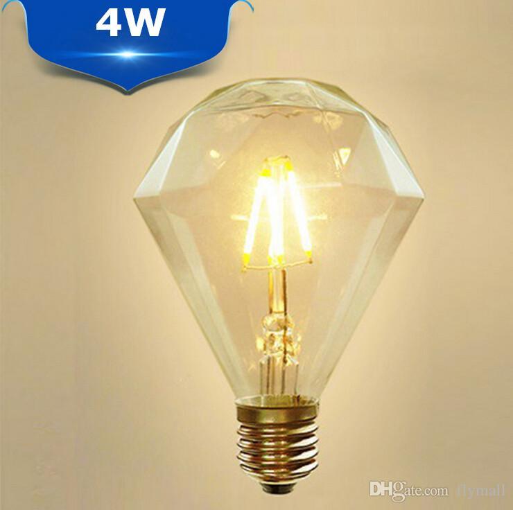 Retro diamante bombilla LED E27 4W 6W 8W G125 G95 Claro 110- 240V Reemplazar pendiente de la lámpara de la vendimia de la vela LED de filamento de la bombilla de Edison de la bombilla