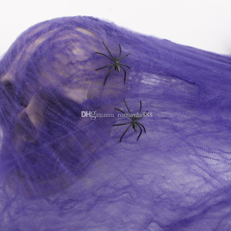 DHL Ücretsiz Nakliye Cadılar Bayramı Dekorasyon Sahte Pamuk Örümcek ağları örümcek ağı spiderweb Parti Perili Ev Cadılar Bayramı Sahne Ev Dekorasyon 5 Renkler