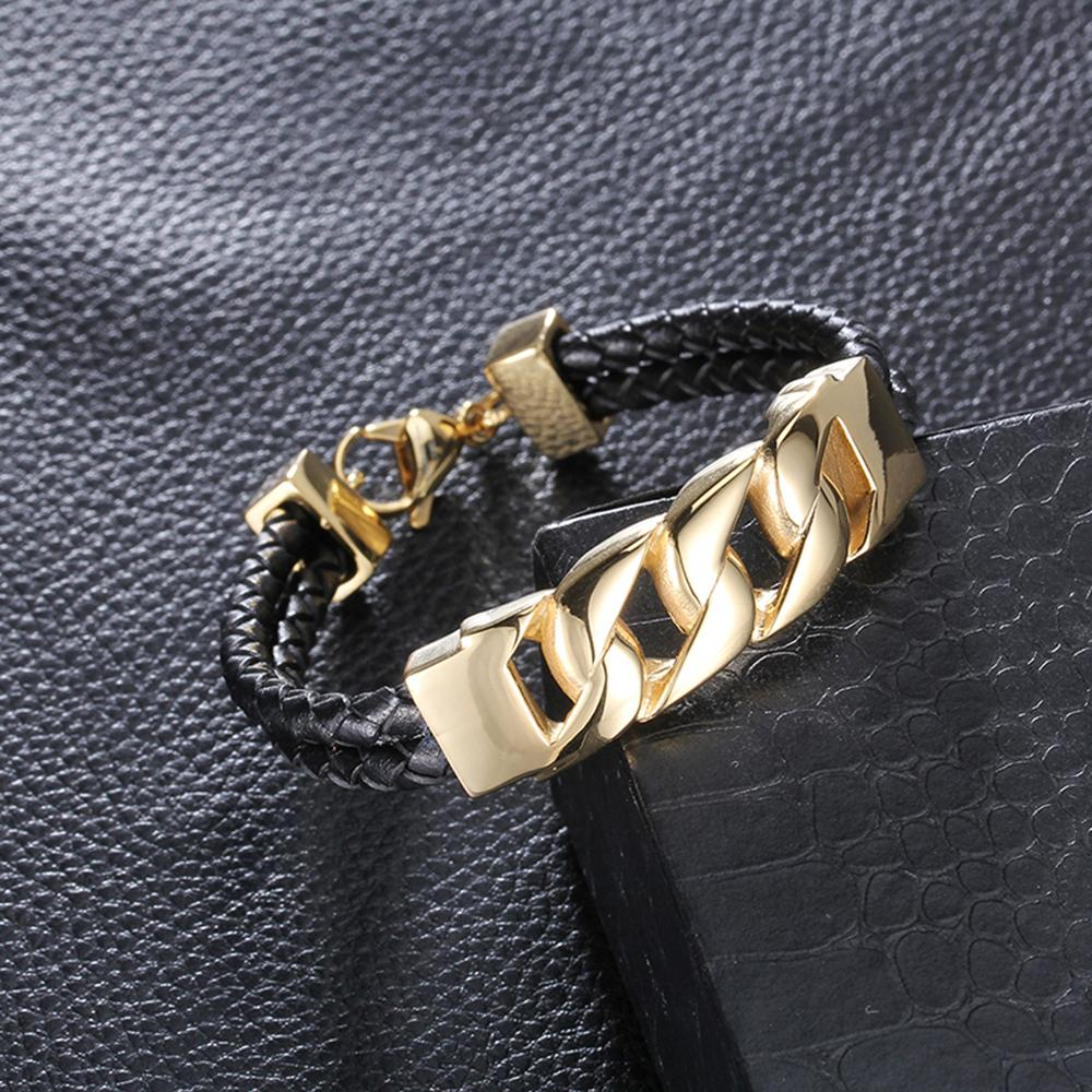 2016 Hot Sale Fashion Trendy Black Leather Bracelets 18K Gold Chain Cuff Bangle Punk Wide Bracelet&Bangle for Women Men Jewelry Accessories