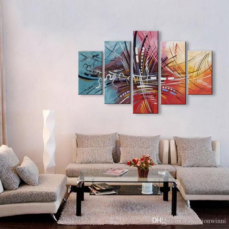5 Panel Canvas Art Colorful Oil Painting Modern Abstract Graffiti Acrylic Paintings Home Decor Wall Paper Huge Line Pictures