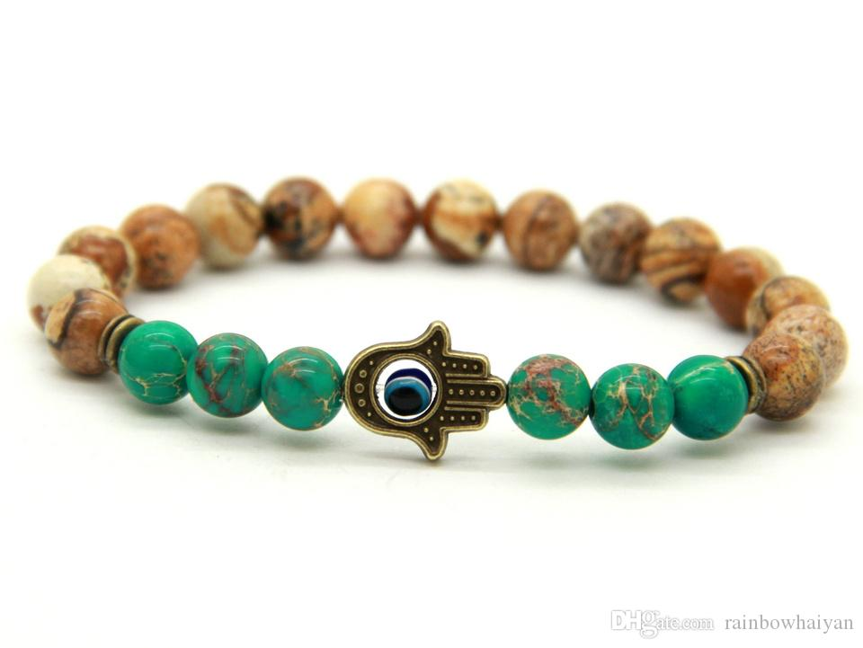 Nouveau Design 8mm Naturel Image Jasper Pierre Mer Sédiments Perles Avec Antique Bronze Hamsa Meilleur Cadeau Bracelets