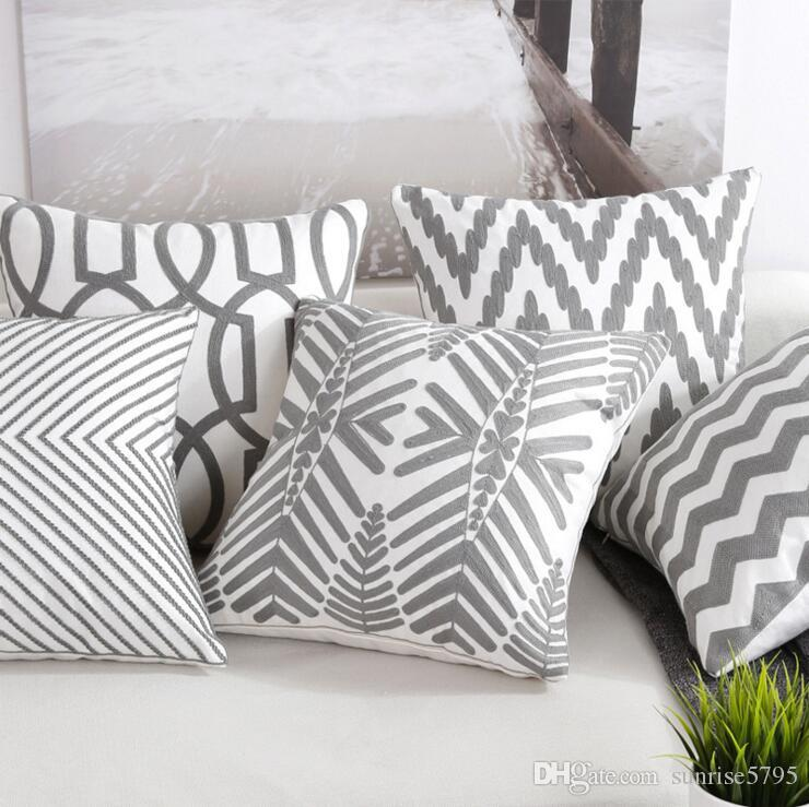 Grey Geometric Cushion Cover Embroidery Decorations For Home Office Modern 45cm Cojines Chair Sofa Throw Pillow Case