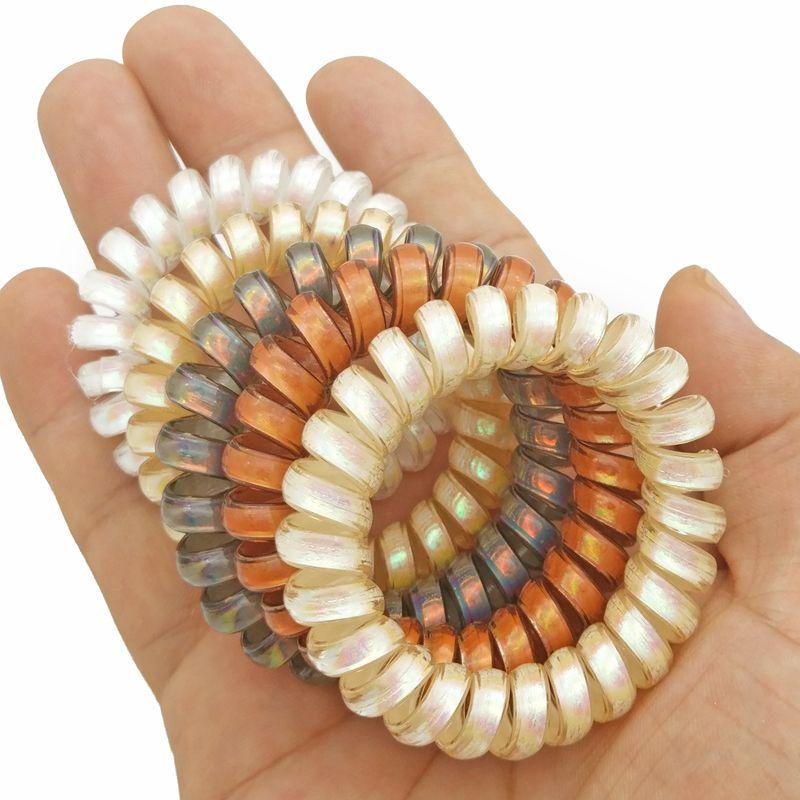 Viele 100 Stücke Frauen Mädchen Größe 5,5 CM AB Bunte Haarbänder Elastische Gummi Telefon Draht Haargummis Kunststoff Seil Haar Zubehör