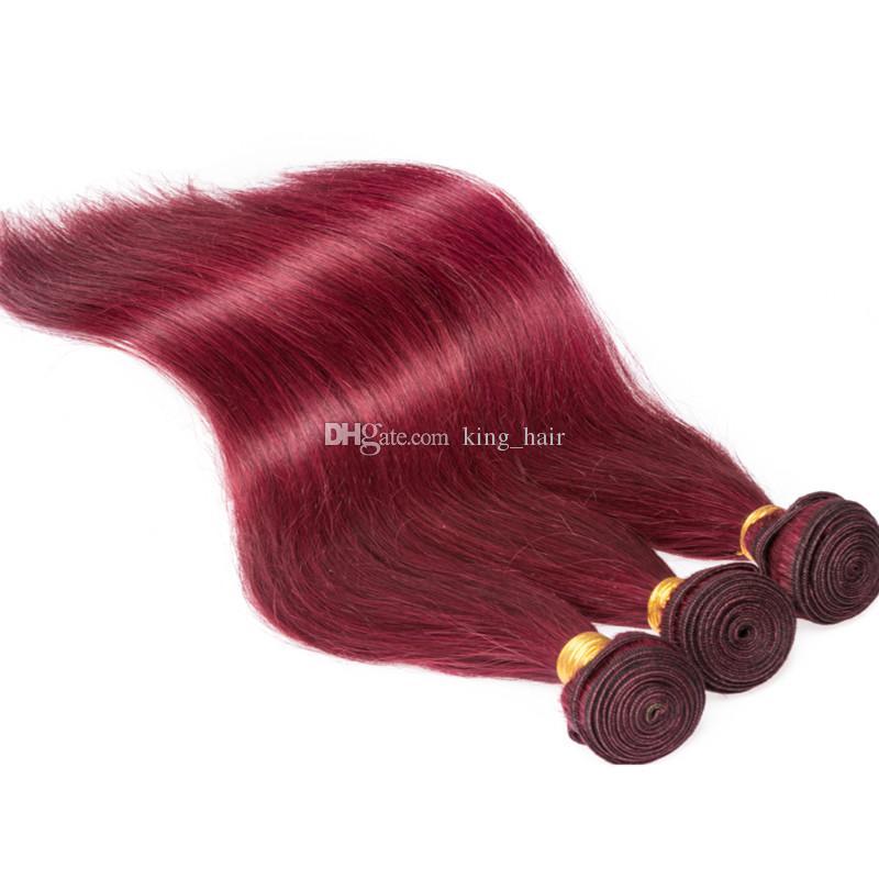 Бразильское Вино красное шелковистые прямые 3Bundles человеческих волос с лобной 13x4 бордовый 99J Виргинские волос ТОП закрытия фронтальной