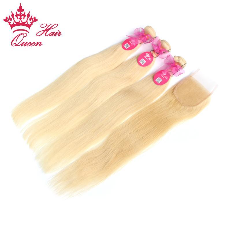 Productos para el cabello de la reina blondeados # 613 Rubia / brasileño Virgen recto pelo 5a grado Cierre de encaje de pelo humano con paquetes
