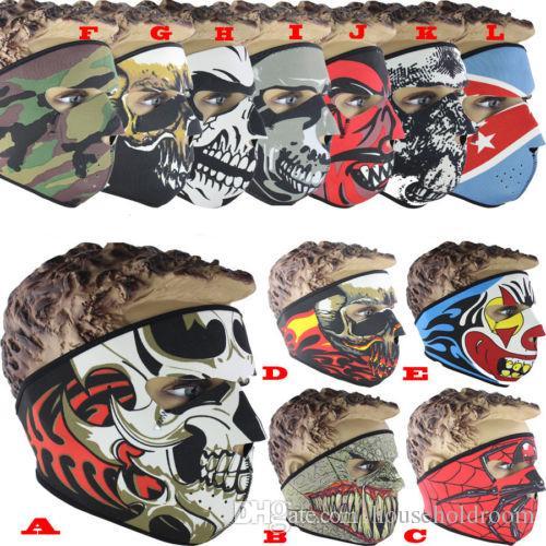 Máscara de neopreno Máscara de deporte al aire libre Máscara de ciclismo Motocicleta Bicicleta Esquí de snowboard Balaclava Fiesta de disfraces de Halloween Máscaras de cráneo