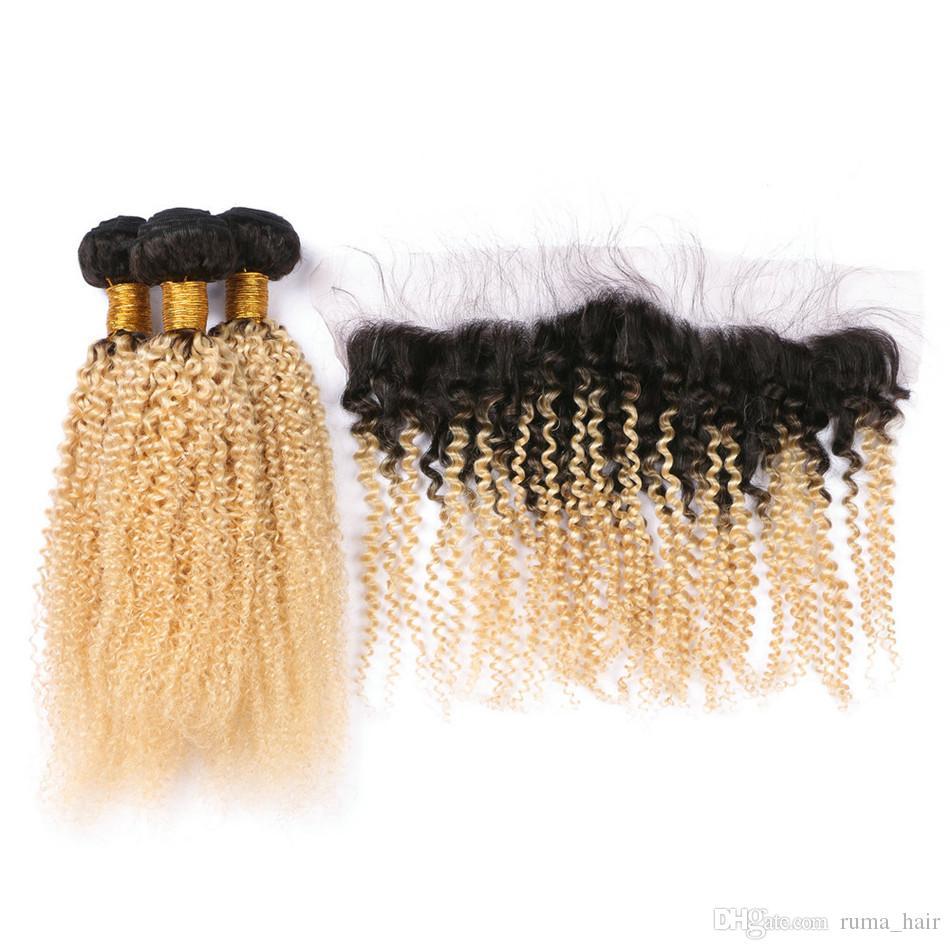 Zwei Ton-1B 613 Dunkel Wurzel Ombre Jungfrau-Menschenhaar Bundles Afro verworren lockig mit 13 * 4 Blondem Ohr zu Ohr Spitze Frontal Closure