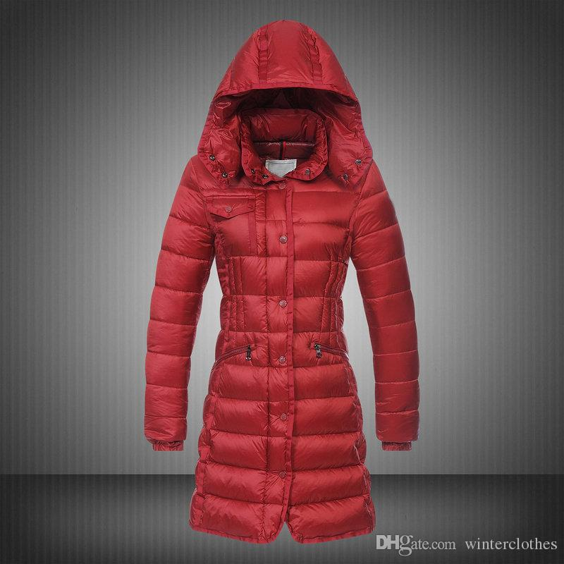 New Long Coat For Women Puffy Duck Duvet Hooded Collar Winter Parka Ruched Button Slim Lady Parka Womens Clothing