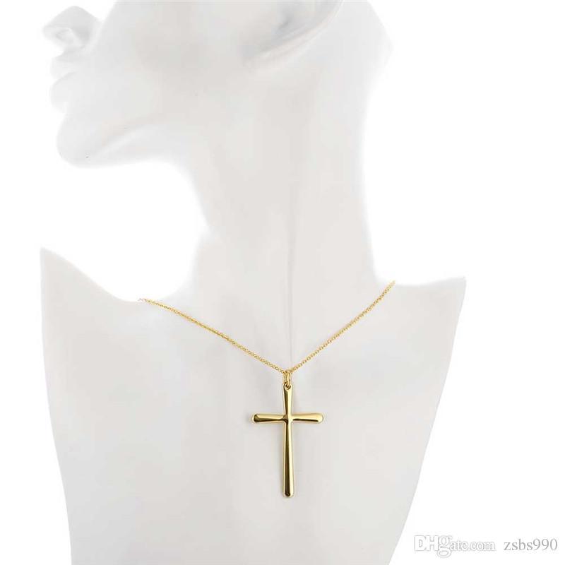 HOT 18K Gold plaqué croix pendentif collier de mode bijoux de mode cadeaux de Noël pour femmes de bonne qualité Livraison gratuite