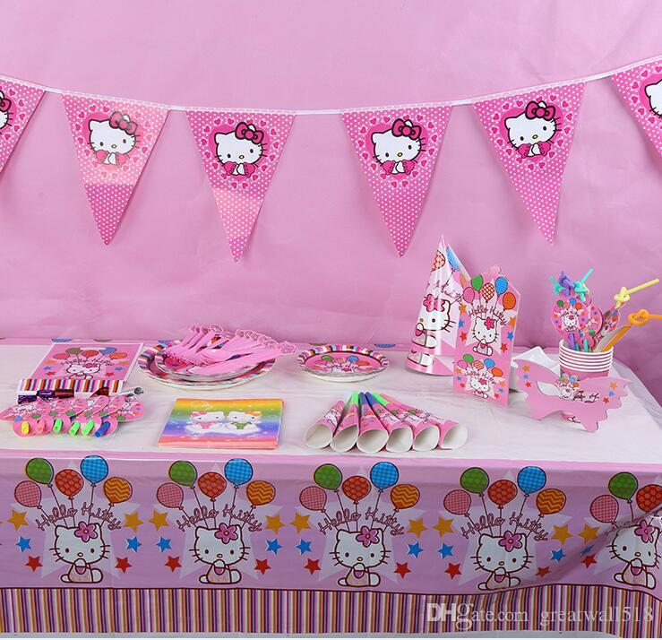 2019 Cute Pink Kitty Cat Birthday Party Accessories Whole S 80 Cartoon Supplies Decoration For Girls Paper Horn Straws Favors Plates MT 061 From