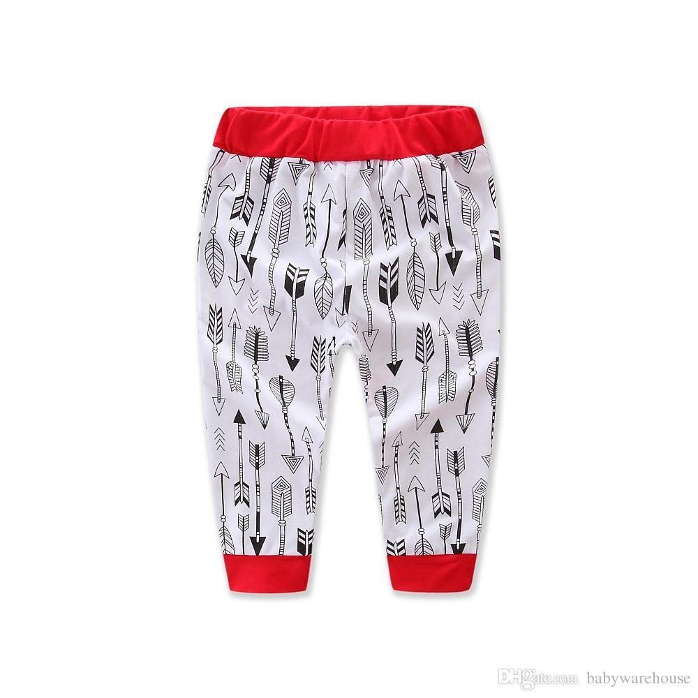 Noworodek Boże Narodzenie Ubrania Zestawy Toddler Boys Girls Długim Rękawem Romper + Strzałki Spodnie + Kapelusz + Opaska 4 sztuk Xmas Odzież Ustawia stroje