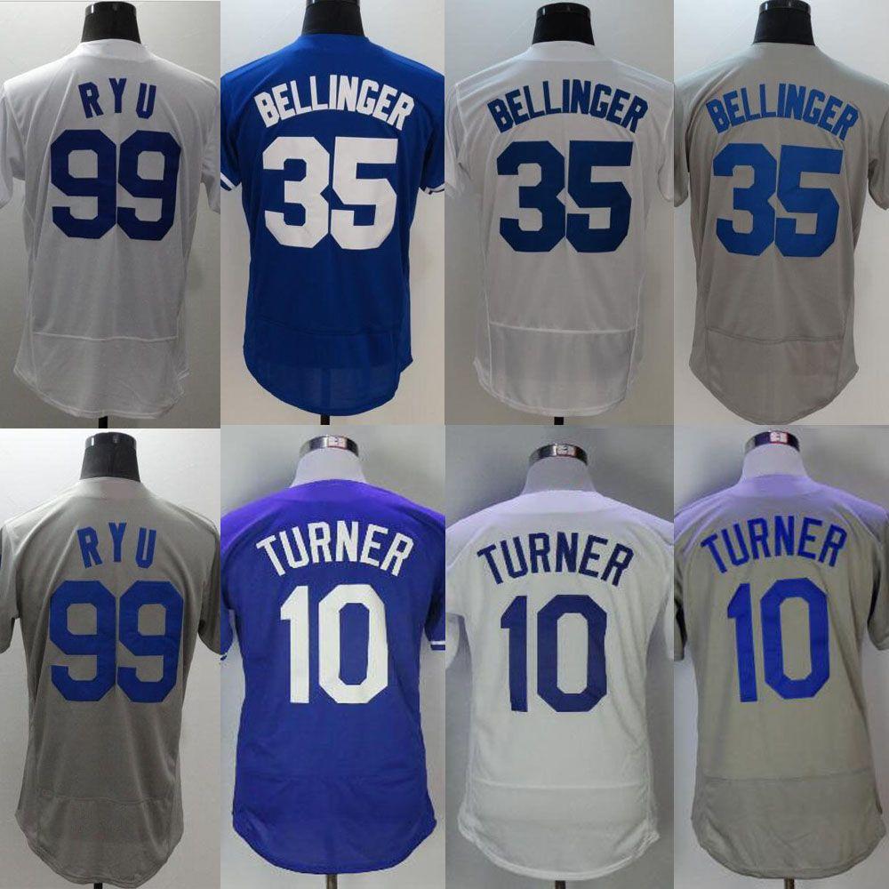 2019 Men S Flex Base Jersey  10 Justin Turner  35 Cody Bellinger  99 Hyun  Jin Ryu Blue White Grey Stitched Baseball Jerseys Free Drop Shipping From  ... 12b7dd45fc8