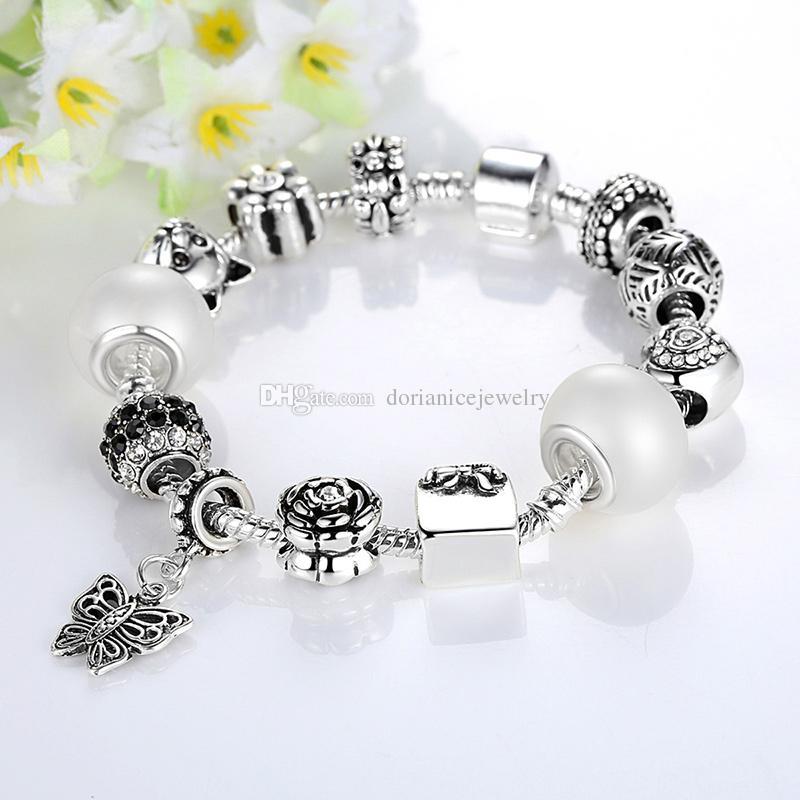 Pulseras del encanto del estilo europeo de Pandora con granos de la dignidad de la esencia Encantos del bolso de la mariposa cuelga las pulseras de la cadena de la serpiente BL135