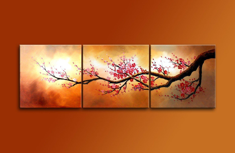 Gro handel handgemalte mordern lgem lde blooming red pflaume blumen baum 3 panels holz - Balkon wanddeko ...