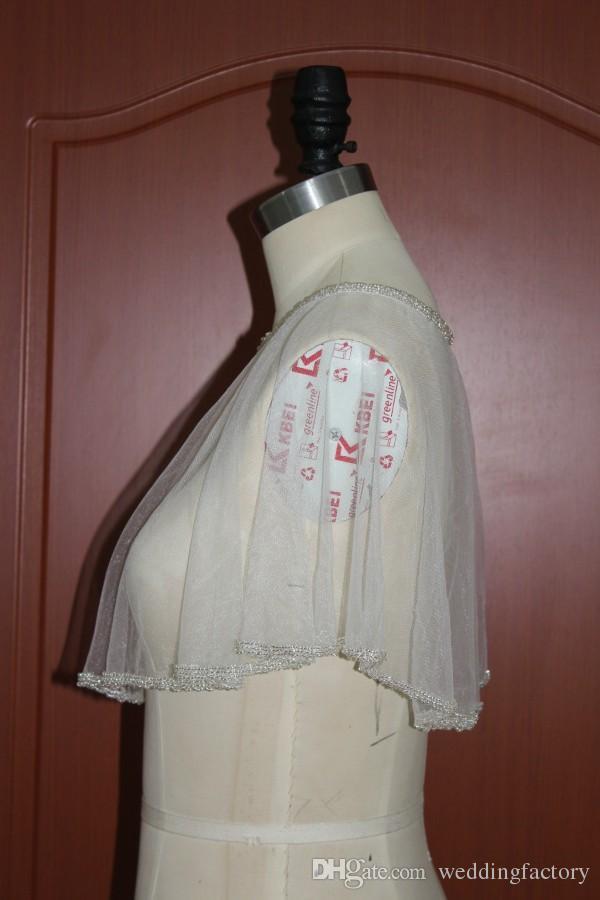 Exquisite Beaded Tulle Wraps Echte foto's Kralen Custom Kleuren Bridal Wraps voor Strapless Trouwjurk Charmante Wrap