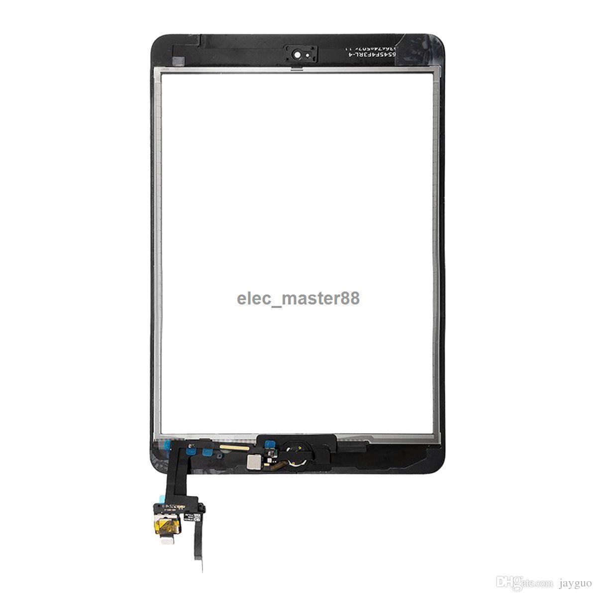 10 adet Ücretsiz DHL iPad mini 3 için Ev Düğmesi ile Dokunmatik Ekran Digitizer Meclisi Ev Flex Kablo + IC Bağlayıcı