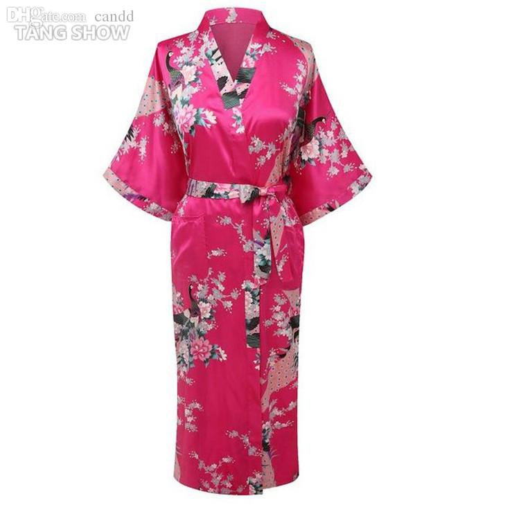 Wholesale-Stylish Hot Pink Ladies Kimono Yukata Gown Women Silk Satin Robe  Summer Casual Nightgown Floral Peacock S M L XL XXL XXXL Xxxl Sweaters for  Men ... 39ec61d2e