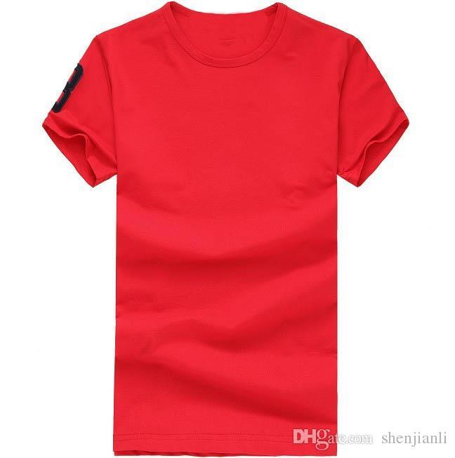 شحن مجاني 2016 جودة عالية القطن جديد س الرقبة قصيرة الأكمام تي شيرت ماركة الرجال القمصان عارضة نمط للرياضة الرجال القمصان