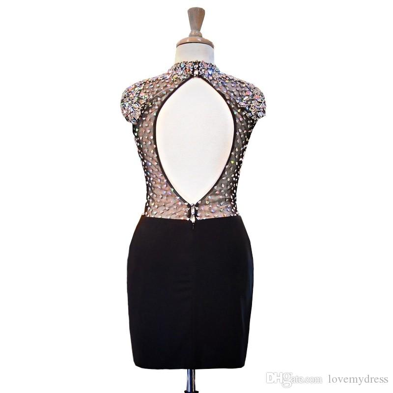 Vintage Black High Neck Short Cheap Cocktail Prom Dress With Short Sleeves Beaded Crystal Sheath Keyhole Back Evening Homecoming Dress Gowns