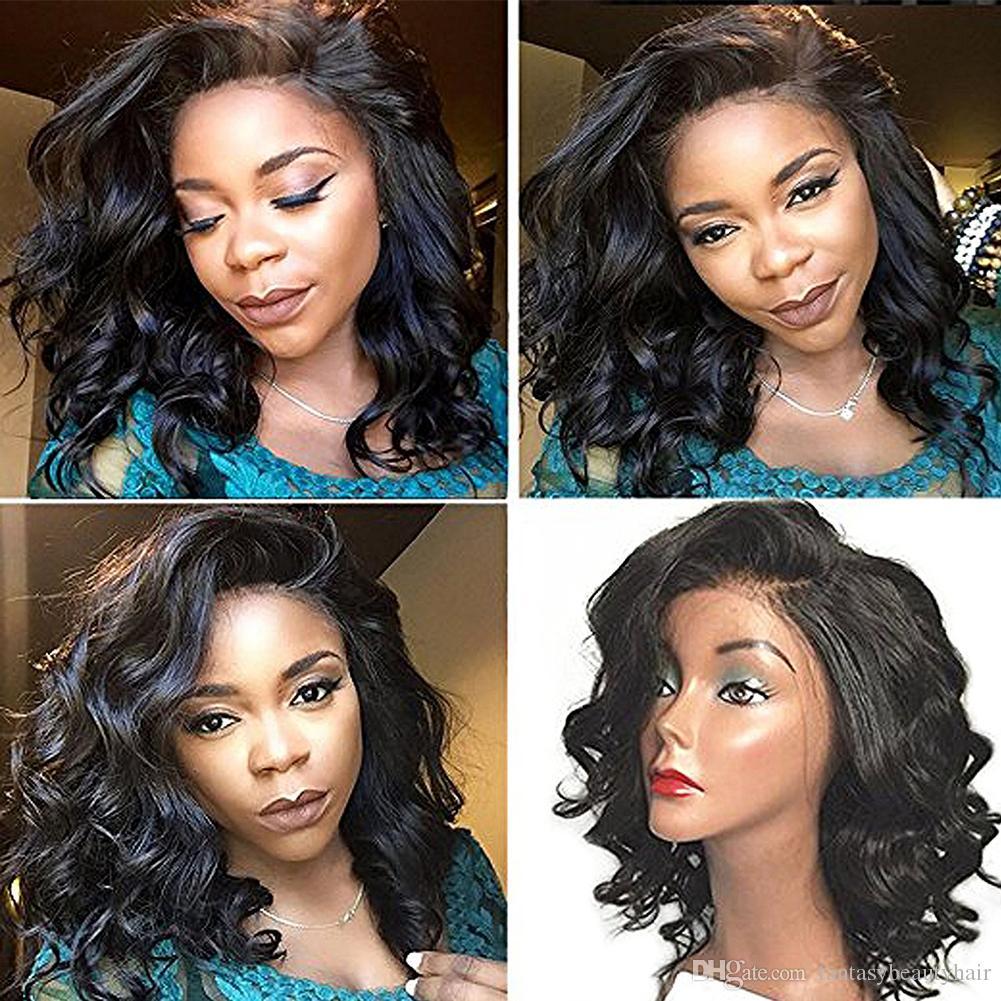 Kurzer lockiges brasilianisches Haar volle Spitze-menschliches Haar-Perücken 130% Dichte für schwarze Frauen natürliche Farbe Pferdeschwanz 14inch