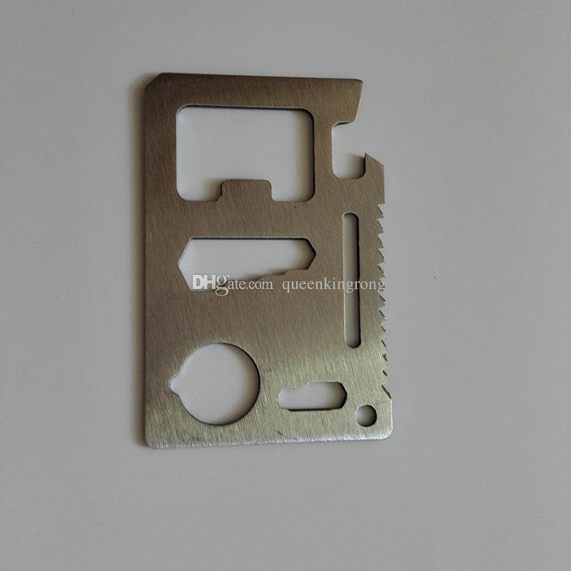 Multi herramientas 11 en 1 Multifunción Caza al aire libre Supervivencia Camping Pocket Militar Tarjeta de crédito Cuchillo Equipo de plata al aire libre