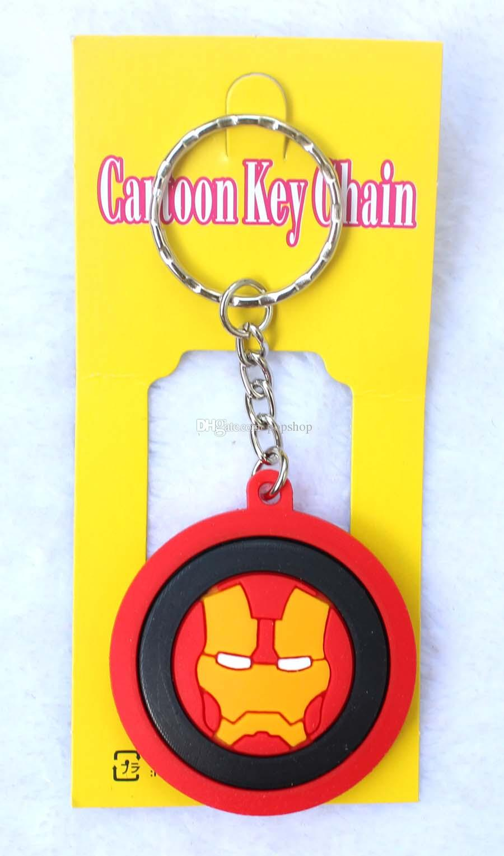 New Mixed Cartoon Round Avengers/Superman/Batman/Spiderman/Iron Man/Silicone Pendant Figure Model Key Chain For Best Gift
