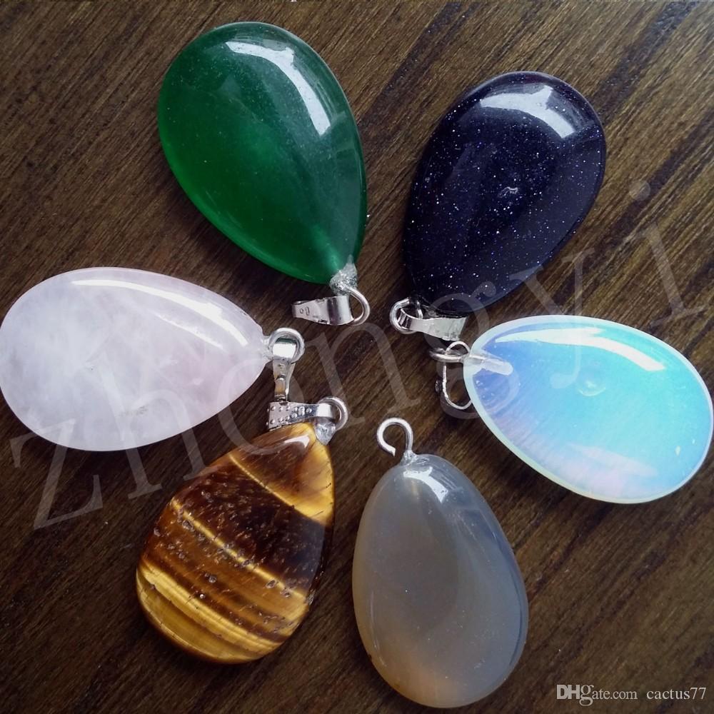 Plana Pedra Natural Gemstone Waterdrop Pingentes Encantos De Cristal Turquesa Banhado A Prata Gancho Jóias Accessary Fit Colar DIY Para Os Amantes