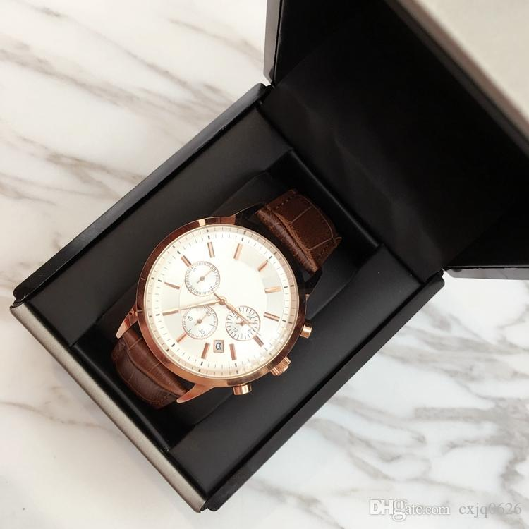 TOP Mode en acier inoxydable Quartz Man Montre en cuir Montre Japon Mouvement en or rose Montres-bracelets Life Étanche Marque Homme Horloge