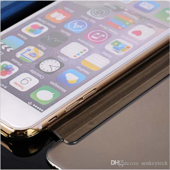 Electroplate Case Cover For iPhone7 7Plus 6 galaxy S6 S7 edge Clear View Mirror Flip Smart Leather Cases With Retail Package