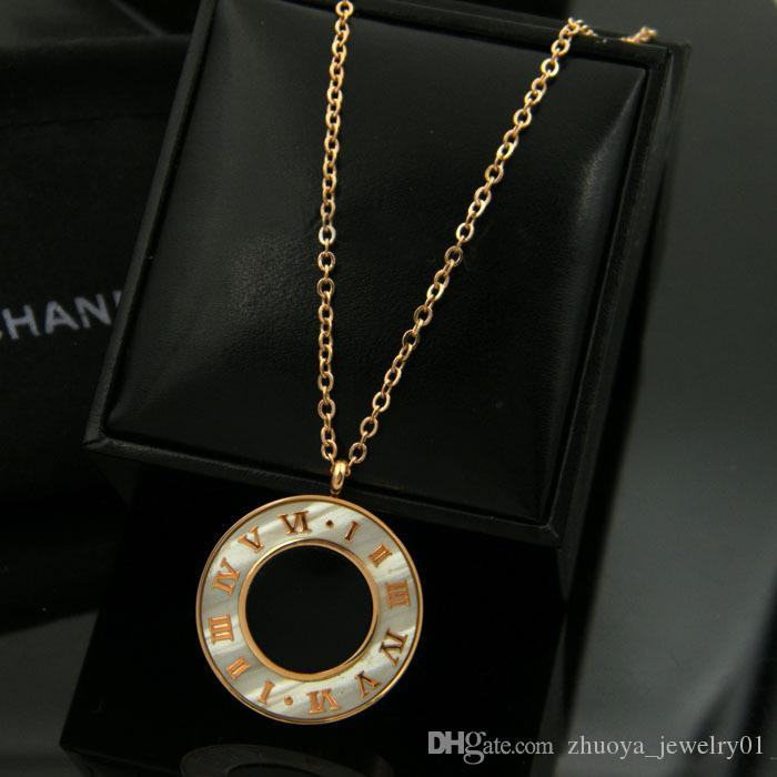 New Necklace Pendant Roman Letters Pendant Necklace Woman Fashion Jewelry Design Stainless Steel Chain Rose Gold