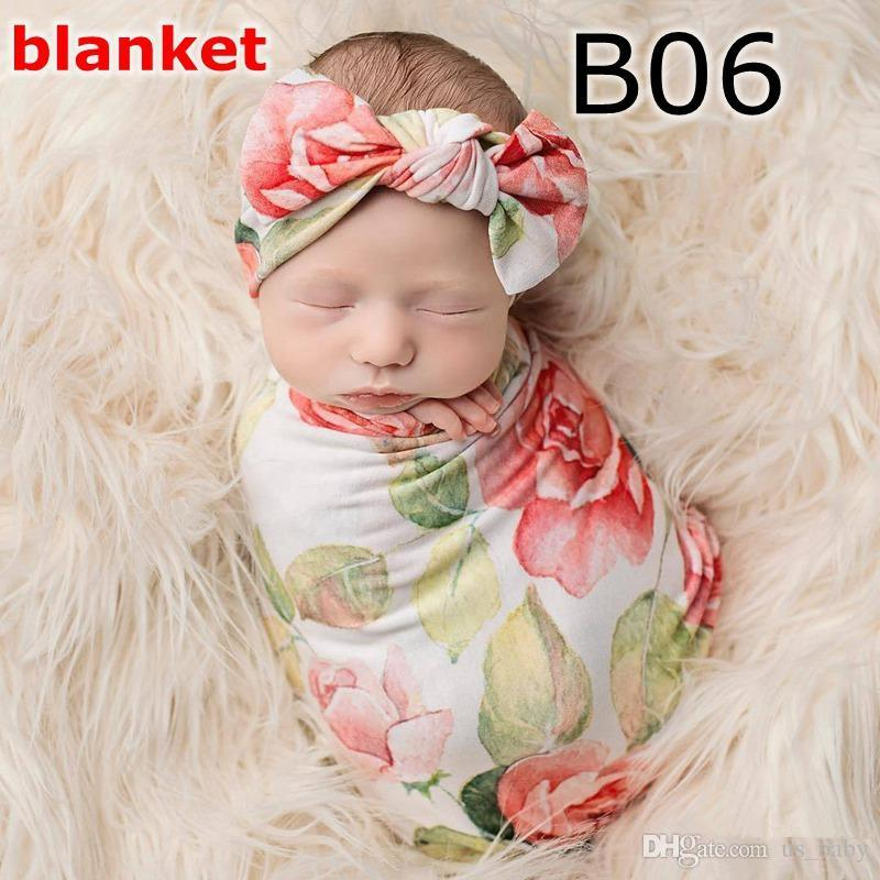 Newborn Swaddle set Infant flower rabbit ears headband hat + swaddle receiving blankets rose floral print