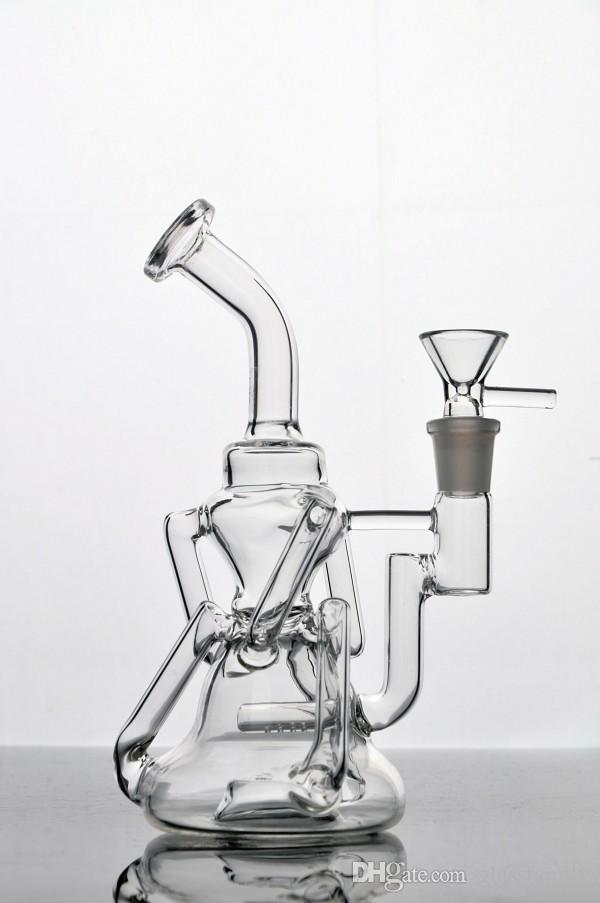 Cyclone Helix glass bongs Such an intricate double recycle bubber water pipe concentrate oil rigs in heavy bases 14.4mm female joint