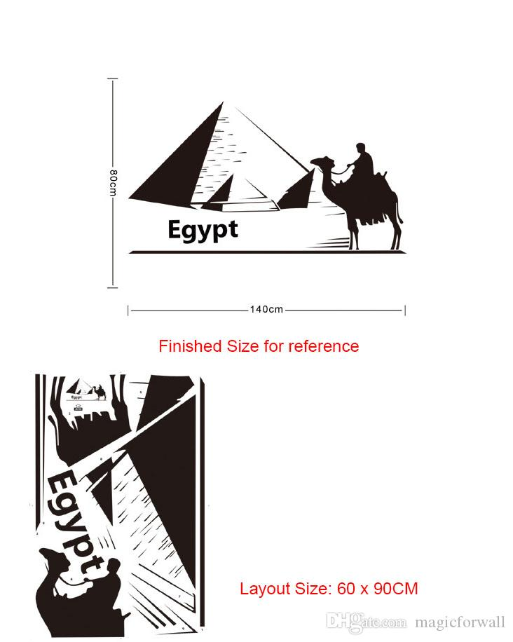 One Person On the Camel to the Pyramid in Egypt Wall Stickers for Living Room Bedroom Decor DIY Home Decoration Wallpaper Poster