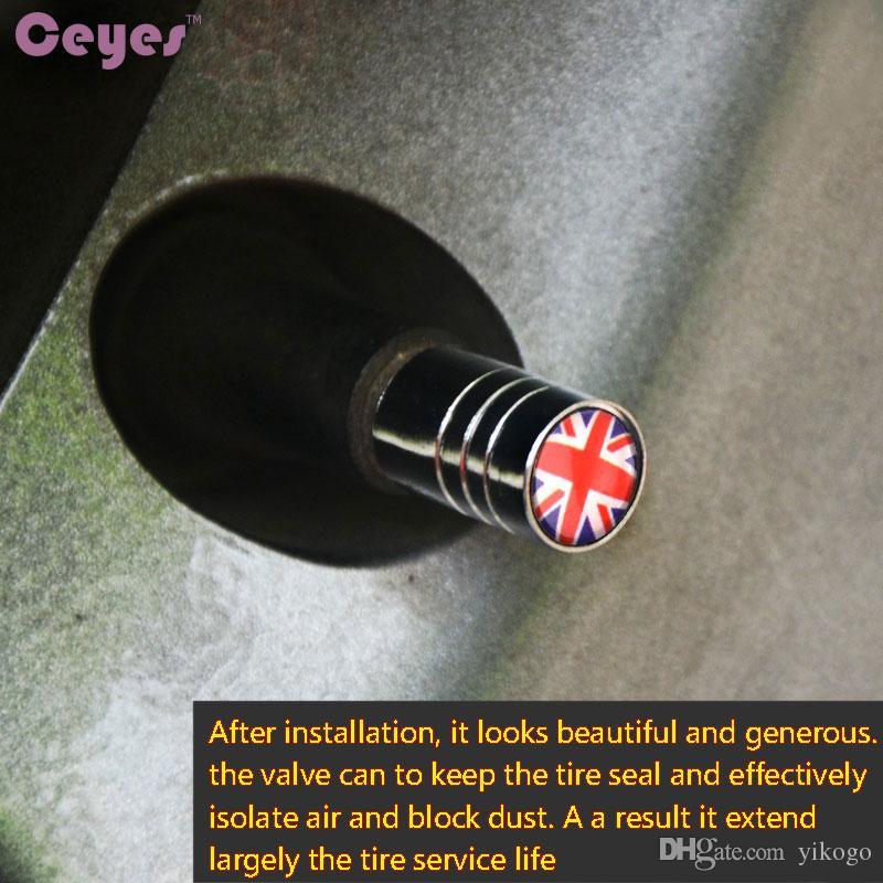 سيارة عجلة الاطارات صمامات صور قبعات الجذعية الهواء غطاء ل المملكة المتحدة العلم شعارات شارة سيارة الإطارات اكسسوارات التصميم 4 قطعة / الوحدة