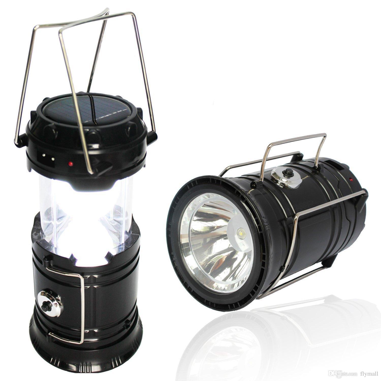 Nuevas linternas solares plegables al aire libre linterna de camping linterna lámparas solares portátiles luz de la tienda luz de emergencia recargable USB