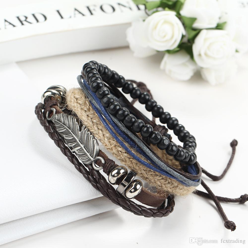 Punk Feather Charms Bracelet Beads + Multilayer Leather Rope Woven Wrap Bracelet for Men's Statement Jewelry pulseira couro as gift
