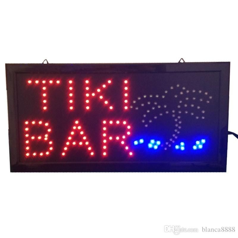 hot sale 10*19 inch LED Signs bright neon led sign TIKI BAR with palm tree and ocean animation