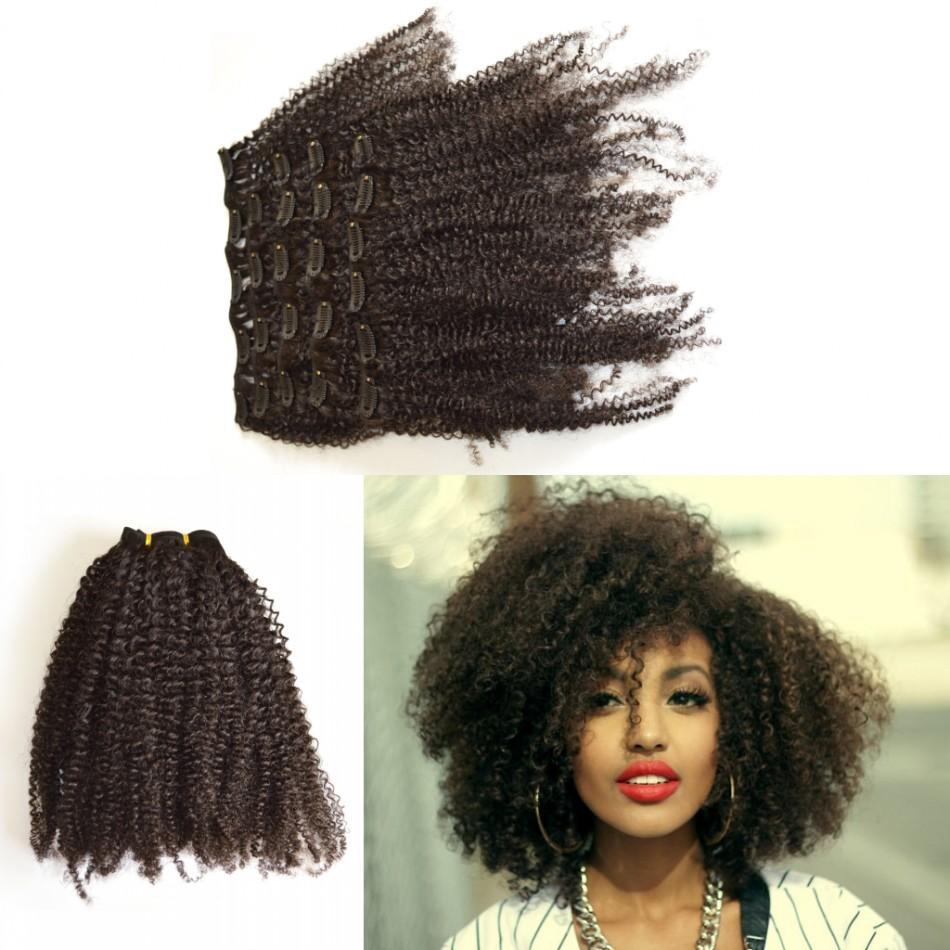 Brazilian Kinky Curly Clip In Hair Extensions G Easy Virgin Human