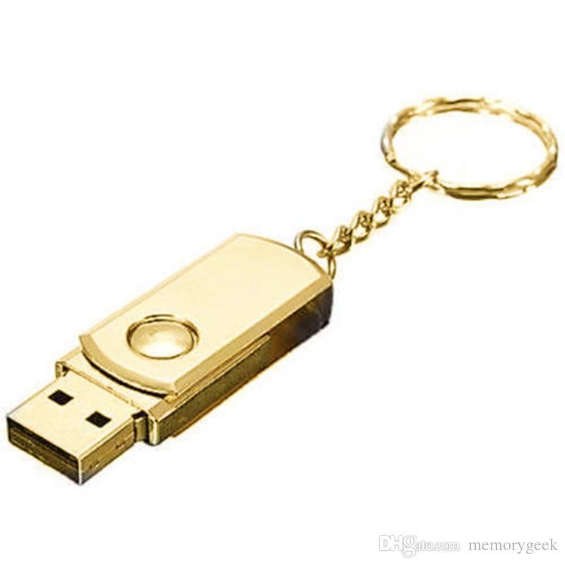 64 GB 128 GB 256 GB Metallo argento dorato con portachiavi Swive USB 2.0 Memoria flash drive smartphone Android ISO Tablet PenDrives U Disk