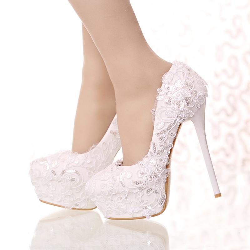 6cbbd602d Sapatos Baratos Laço Branco E Brilho Noiva Sapatos Rodada Toe Laço De Fita  De Casamento Sapatos De Salto Alto Plataforma Mulheres Vestido Partido  Shoes Dama ...
