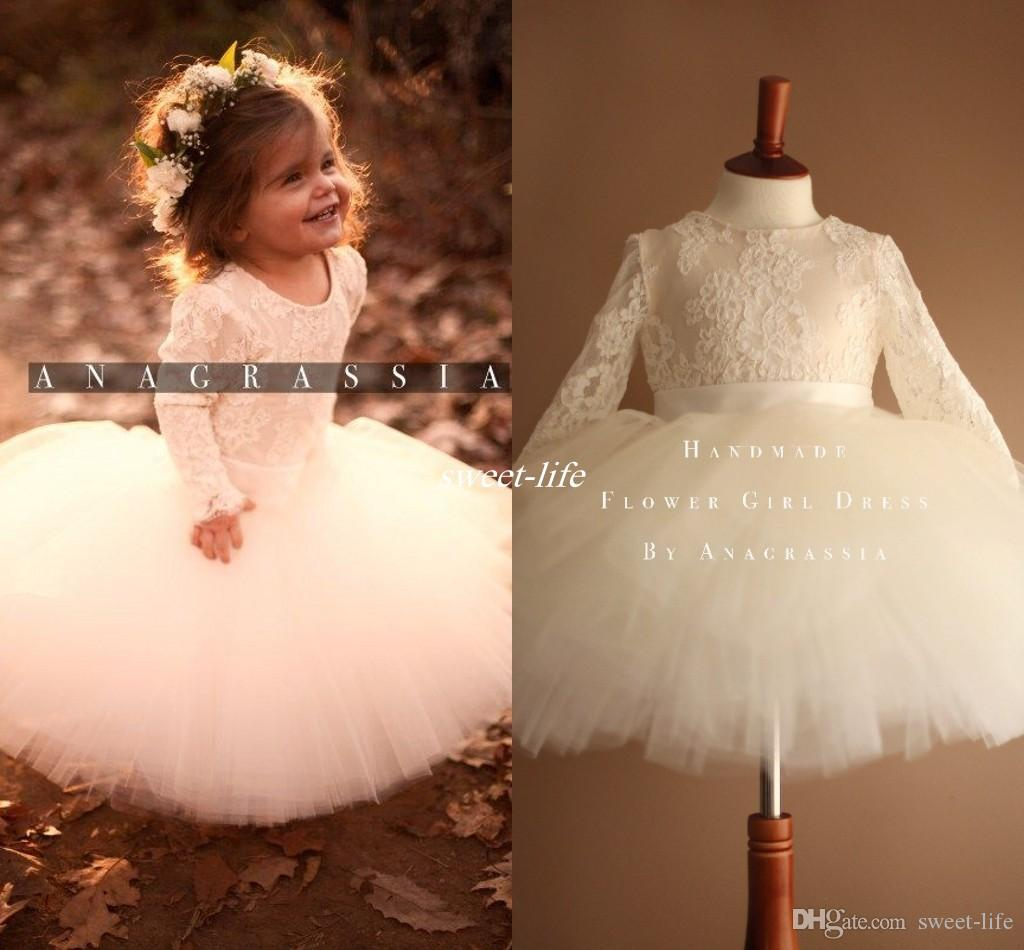 Ivory Tutu Flower Girls Dresses For Weddings Cute Long Sleeves Ball