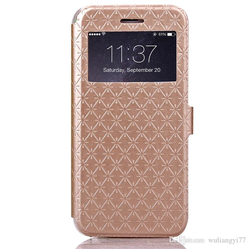 """Luxury Diamond Grid PU Leather Stand Case With View Window for Apple iPhone 6S 4.7"""" Slim Flip Case Cover Pouch With Card Slots"""