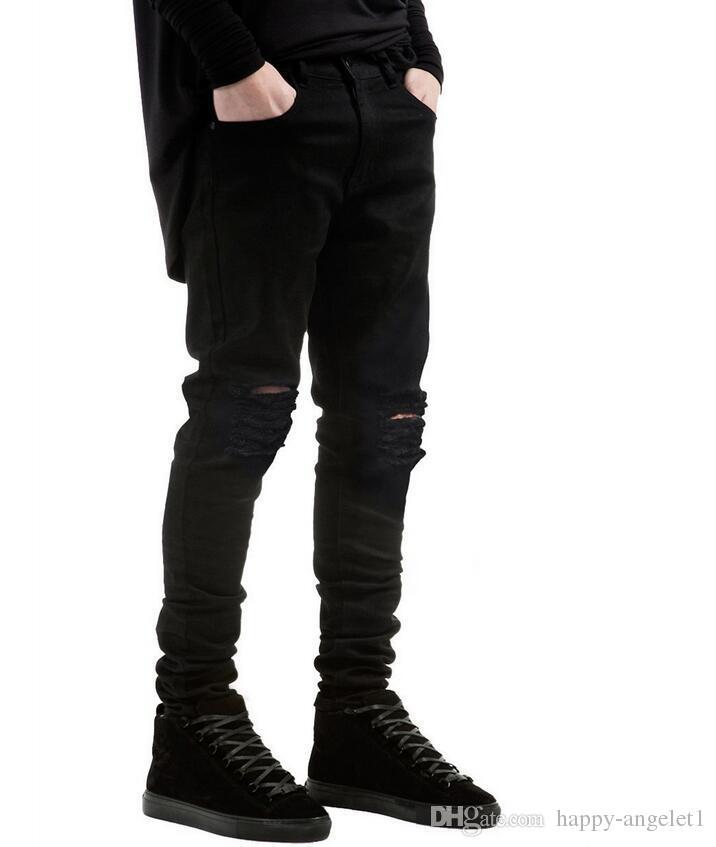 디자이너 브랜드 새로운 남자 블랙 화이트 청바지 마른 찢어진 스트레치 슬림 패션 힙합 털이 남자 캐주얼 데님 바이커 바지 바지 작업자 조깅