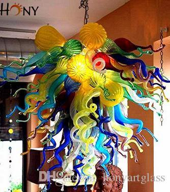 Бесплатная доставка AC Сид Подгонянные Стиль Современный домашнего освещения элегантный красочные рука выдувное художественного стекла люстра