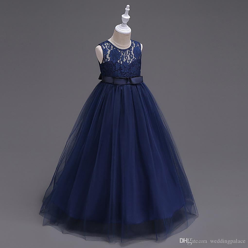 Cute O-neck Flower Girls Dresses Navy Blue Tulle With Bow A-line Kids Pageant Birthday Party Dresses Robes Filles Fleur For Wedding