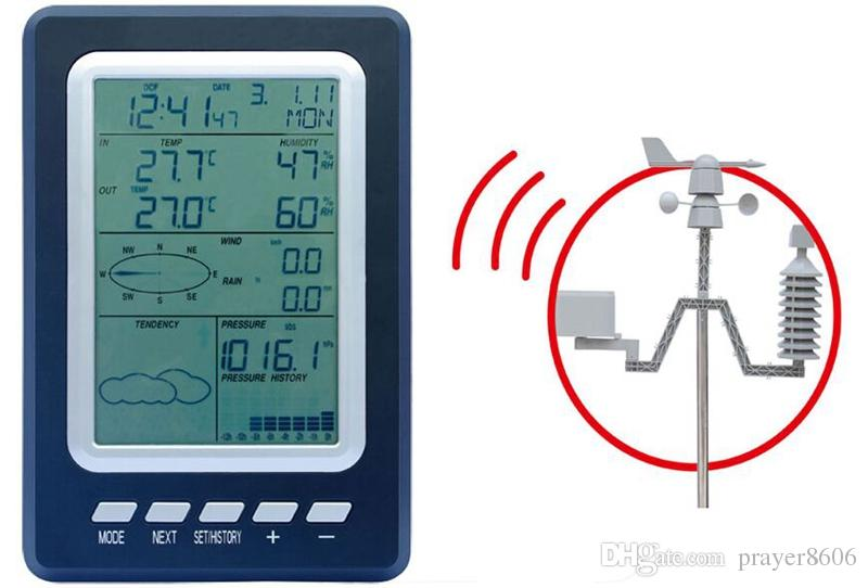 Indoor outdoor Wireless Temperature Humidity Meter Weather Station  Professional Rain Pressure Wind Speed Direction Weather Center